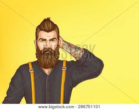 Doubtful And Skeptical Hipster Portrait Cartoon Vector. Young Bearded Man With Tattoo On Forearm, We
