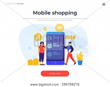 Landing Page Template. Concept Of Online Payments, Mobile Shopping. Online Shopping. Image Of Young