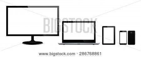 Set Of Black Gadgets And Computer Devices In Front Side On White Background. Realistic Vector Illust