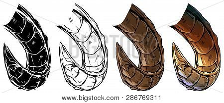 Cartoon Graphic Colorful Detailed Big Sharp Daemon Horns Or Antlers. Hunting Trophy. Isolated On Whi