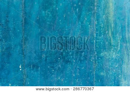 Abstract Blue Texture And Background For Design. Old Wall Painted In Navy Blue And Light Blue. Close