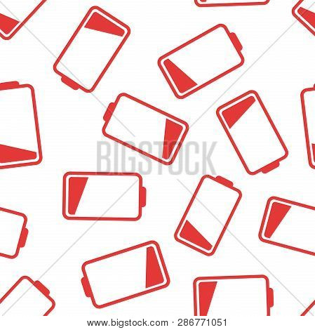 Battery Icon Seamless Pattern Background. Business Flat Vector Illustration. Battery Charge Level Si