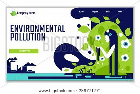 Website Template Of Environmental Pollution, For Graphic And Web Design, Flat Design Vector Illustra