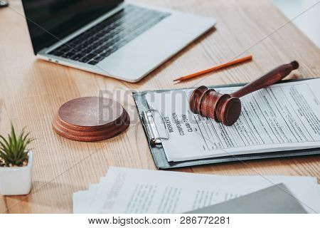 Clipboard With Compensation Claim Form And Gavel Lying Over On The Office Desk, Compensation Concept