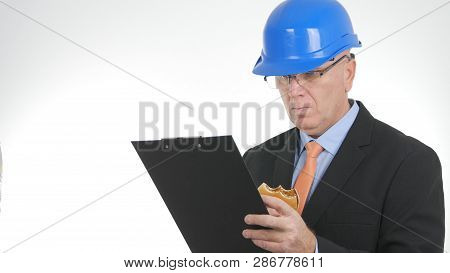 Businessperson Look In Clipboard Paper Notes And Eat Starved A Sandwich