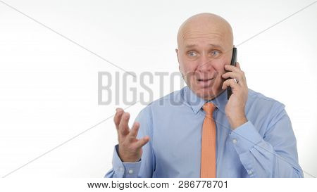 Businessperson Make A Phone Call Hears Bad News Make Nervous Hand Gestures