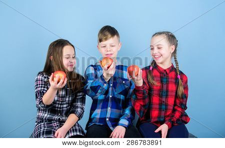 Teens With Healthy Snack. Healthy Dieting And Vitamin Nutrition. Eat Fruit And Be Healthy. Group Tee
