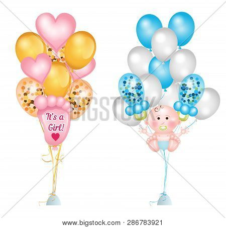 Set Of Cute Balloons For Baby Shower. Baby Footprints, Baby Boy, Baby Pacifier, Heart Balloons And B
