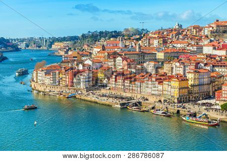 Cityscape Of Porto (oporto) Old Town, Portugal. Valley Of The Douro River. Panorama Of The Famous Po