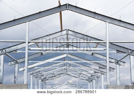 New Construction. The Frame Of The New Building Is Made Of Metal Frame And Concrete. Steel Construct