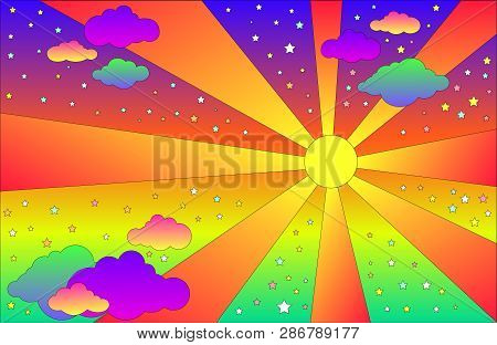Vintage Psychedelic Landscape With Sun And Clouds, Stars. Vector Cartoon Bright Gradient Colors Back