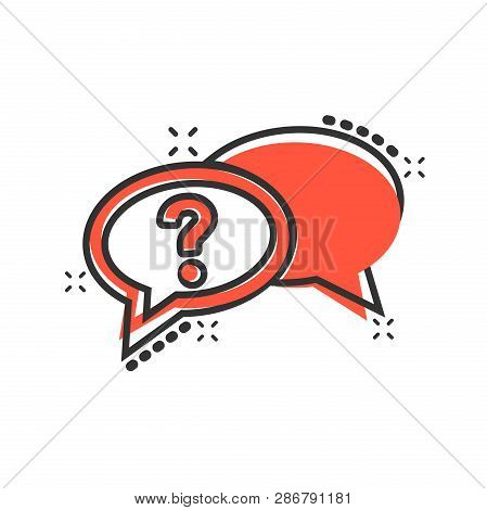 Question Mark Icon In Comic Style. Discussion Speech Bubble Vector Cartoon Illustration Pictogram. Q