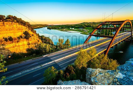 360 Bridge At Sunset Or Pennybacker Bridge A Landmark Of Austin , Texas , Usa A Gorgeous Cannon Susp