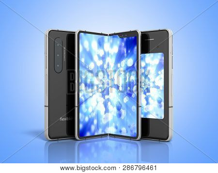 First Serial Flexible Phone 3d Render On Blue Background