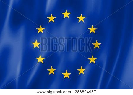 The Flag Of The European Union. Waving Flag. Illustration. Vector