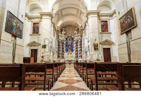 Lisbon - July 16, 2018:  Interior Of The 18th Century Baroque Parish Church Of St Joseph, With A Mag