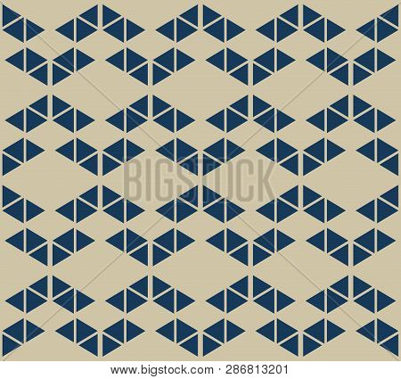 Golden Geometric Triangles Seamless Pattern. Simple Vector Gold And Blue Abstract Texture With Small