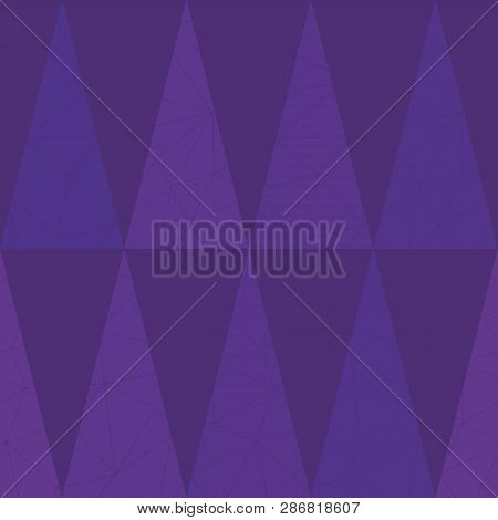 Luxurious Purple Geometric Triangle Design On Lightly Textured Purple Background. Seamless Vector Pa