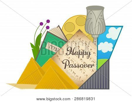 Decorative Happy Passover Clip-art With Passover Elements. Eps10