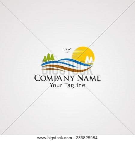 Sun Land Logo Vector, Icon, Element, And Template For Company