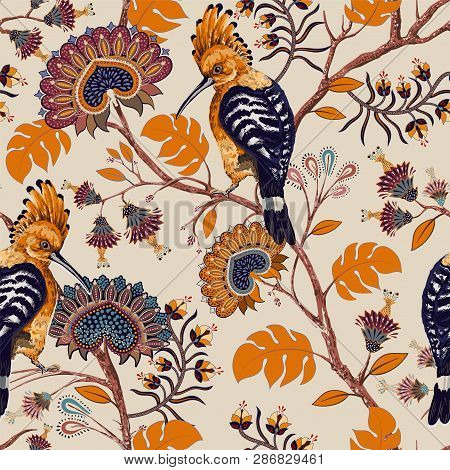 Vector Colorful Pattern With Birds And Flowers. Hoopoes And Flowers, Retro Style, Floral Backdrop. S