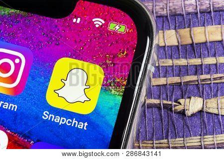 Helsinki, Finland, February 17, 2019: Snapchat Application Icon On Apple Iphone X Smartphone Screen