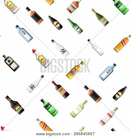 Seamless Alcohol Glass Bottles Collection Pattern. Vodka Champagne Wine Whiskey Beer Brandy Tequila