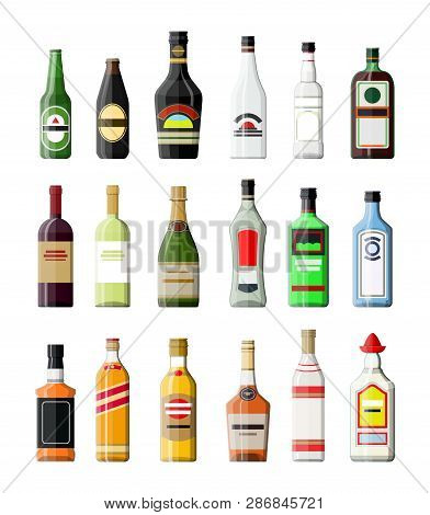 Alcohol Drinks Collection. Bottles With Vodka Champagne Wine Whiskey Beer Brandy Tequila Cognac Liqu