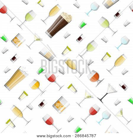Alcohol Drinks Collection In Glasses Seamless Pattern. Vodka Champagne Wine Whiskey Beer Brandy Tequ
