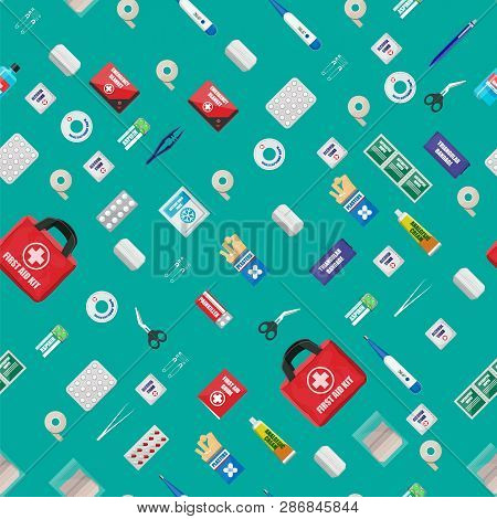 First Aid Kit Seamless Pattern. Medical Equipment And Medications. Cloth Bag For Medicine. Healthcar