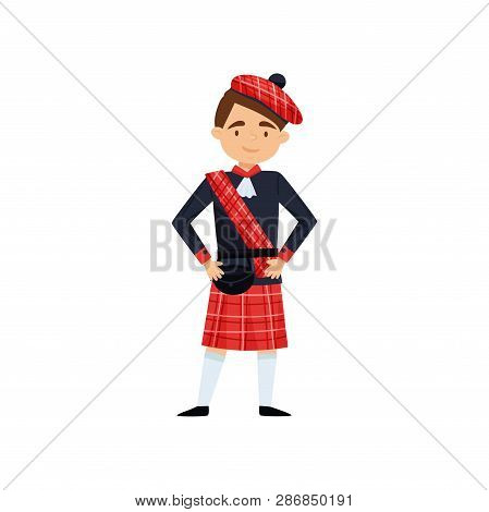 Smiling Boy In Red Kilt And Beret With Checkered Red Pattern. Traditional Scottish Dress. National C