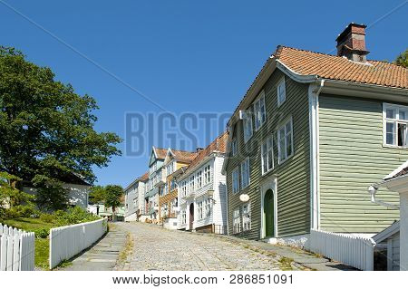 Bergen, Norway - July 20, 2018: Gamle (old) Bergen Museum - The Open Air Museum With A Small Town Li