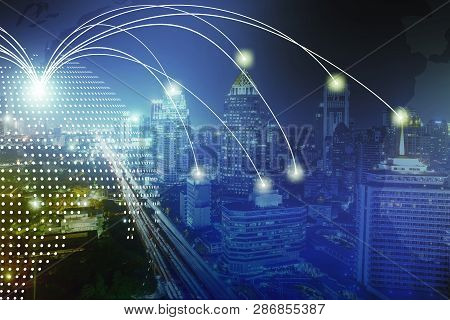 Modern Wireless Connection Technology In Smart City. Closeup Dots Globe With Connection Lines And Do