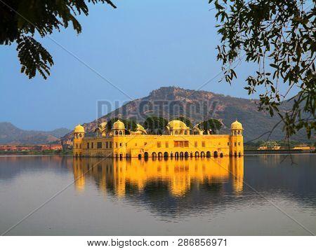 Water Palace (jal Mahal) In Man Sagar Lake. Jaipur, Rajasthan, India. 18th Century. The Palace Dzhal