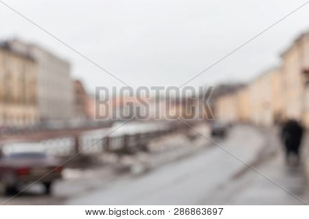 Defocused Background With City Saint-petersburg, Abstract Urban Light Bokeh