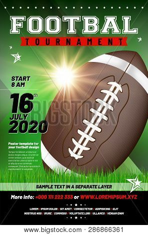 American Football Tournament Poster Template With Ball, Grass And Sample Text In Separate Layer - Ve