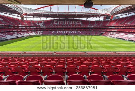 Lisboa, Portugal - April 2018: View On The Field At Estadio Da Luz - The Official Playgrounds Of Fc