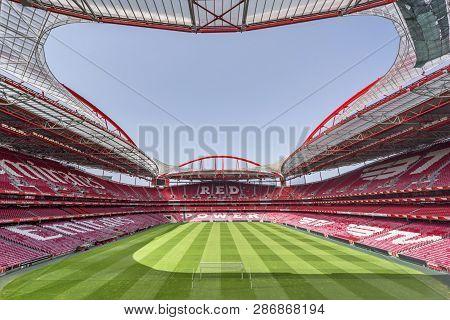 Lisboa, Portugal - April 2018:  Estadio Da Luz - The Official Playgrounds Of Fc Benfica