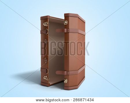 Open Vintage Suitcase 3d Render On Bluebackground