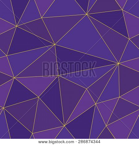 Luxurious Abstract Polygon Seamless Vector Design With Gold Lines In Shades Of Purple. Perfect For L