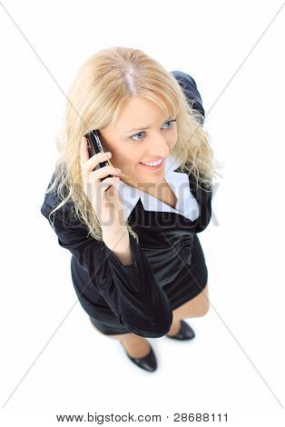 Top view of young businesswoman talking on mobile phone isolated on white background