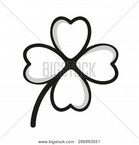 Four-leaf Clover Black And White Simple Drawing Vector Illustration Eps10
