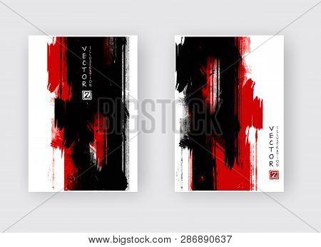 Black Red Ink Brush Stroke On White Background. Japanese Style. Vector Illustration Of Grunge Wave S