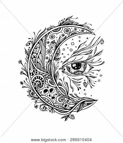 Decorative Moon Or Crescent With Eye Black On White. Symbol Of  Magic Or Esoteric Or Wonderland  Or
