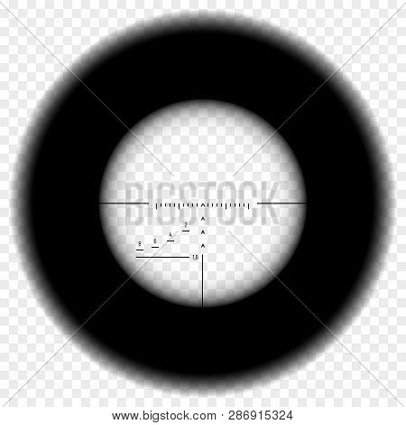 Realistic Sniper Scope Sight. Sniper Scope With Measurement Marks On Transparent Background. Black O