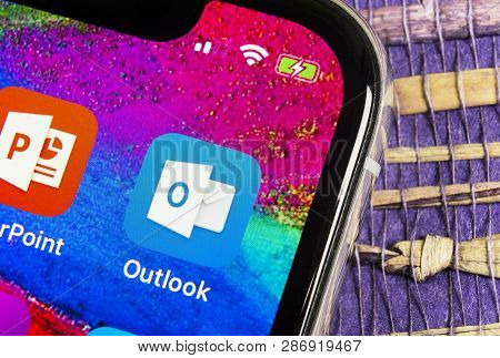 Helsinki, Finland, February 17, 2019: Microsoft Outlook Office Application Icon On Apple Iphone X Sc