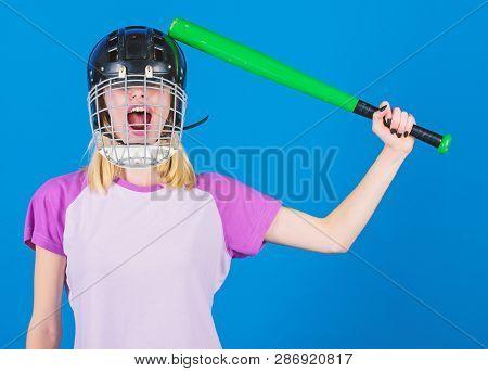 Play Game For Fun. Woman Having Fun During Baseball Game. Girl Pretty Blonde Wear Baseball Helmet An