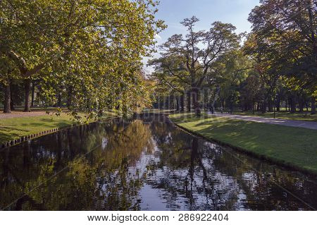 View On Canal In Het Park In Rotterdam On Sunny October Day