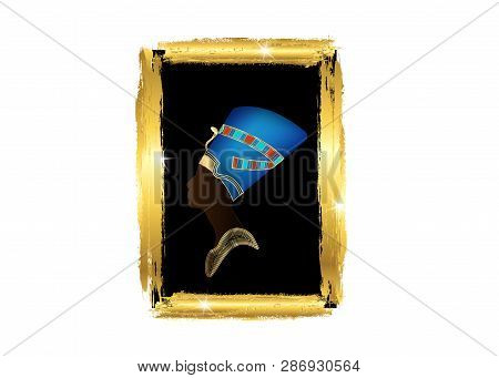 Egyptian Profile With Golden Frame, Old Egyptian Silhouette Icon. Queen Nefertiti. Vector Portrait P