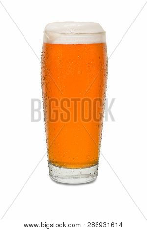 Craft Pub Beer Glass With Dollop Of Foam On Lip Of Glass #2.